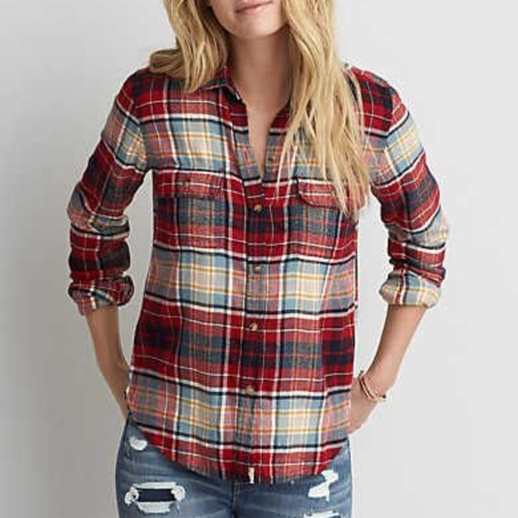American Eagle Outfitters Tops - American Eagle Womens Slim Fit Flannel  Shirt XS 8da3037a91